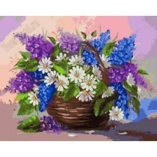 "Картина по номерам раскраска ""Кашпо с цветами"""