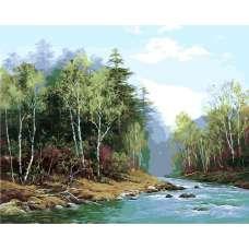 "Картина по номерам раскраска ""Лесная река"""