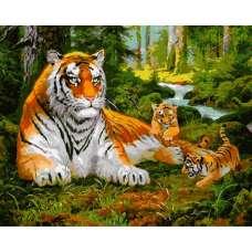 """Картина по номерам раскраска """"Тигр и тигрята"""""""