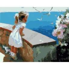 """Картина по номерам раскраска """"Девочка у моря"""""""