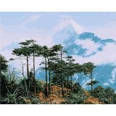 """Картина по номерам раскраска """"Лес в горах"""""""