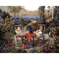 """Картина по номерам раскраска """"Столик в саду"""""""