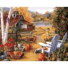 """Картина по номерам раскраска """"Деревенька"""""""