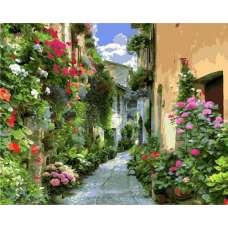 """Картина по номерам раскраска """"Цветочный переулок"""""""