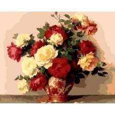 """Картина по номерам раскраска """"Белые и алые розы"""""""