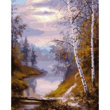 """Картина по номерам раскраска """"Лес и река"""""""