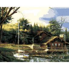 "Картина по номерам раскраска ""Домик на воде"""