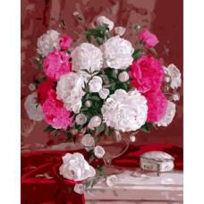 """Картина по номерам раскраска """"Белые и розовые розы"""""""