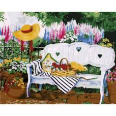 "Картина по номерам раскраска ""Лавочка в саду"""