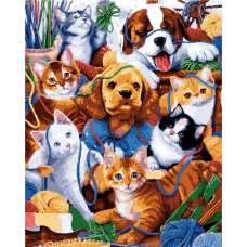 """Картина по номерам раскраска """"Котята и щенята"""""""