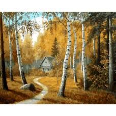 """Картина по номерам раскраска """"Домик в осеннем лесу"""""""