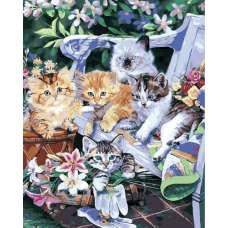 """Картина по номерам раскраска """"Котята на стуле"""""""