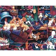 """Картина по номерам раскраска """"Сонные котята"""""""