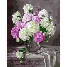 """Картина по номерам раскраска """"Бело-розовые пионы"""""""