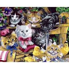 """Картина по номерам раскраска """"Котята в саду"""""""