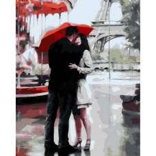 """Картина по номерам раскраска """"Целующиеся под зонтом"""""""