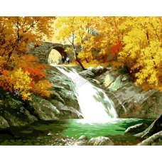 "Картина по номерам раскраска ""Осенний водопад"""