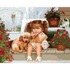 "Картина по номерам раскраска ""Девочка и щенок"""