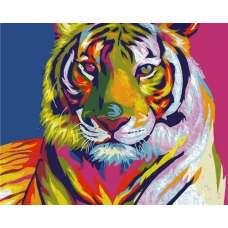 """Картина по номерам раскраска """"Радужный тигр"""""""