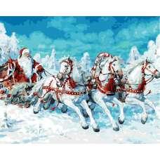 """Картина по номерам раскраска """"Дед мороз на тройке"""""""