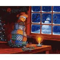 """Картина по номерам раскраска """"Домашний снеговик"""""""