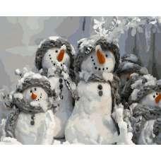 """Картина по номерам раскраска """"Семья Снеговиков"""""""