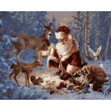 """Картина по номерам раскраска """"Дед мороз в лесу"""""""