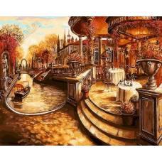 """Картина по номерам раскраска """"Лестница в кафе"""""""