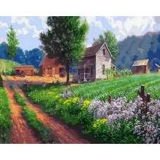 "Картина по номерам раскраска ""Дома в полях"""