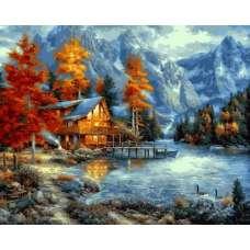 """Картина по номерам раскраска """"Дом в горах"""""""