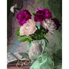 """Картина по номерам раскраска """"Пионы в вазе"""""""