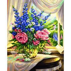 "Картина по номерам раскраска ""Цветы на столе"""