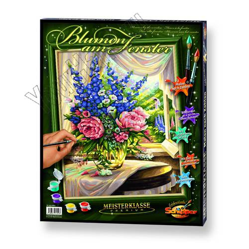 "Картины по номерам, раскраска холст ""Цветы на столе ..."