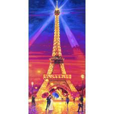 """Картина по номерам раскраска """"Эйфелева башня ночью"""""""