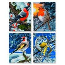 """Картина по номерам раскраска """"Птицы зимой"""""""