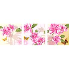 """Триптих по номерам на холсте """"Розовые цветы"""""""