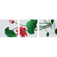 """Триптих по номерам на холсте """"Красный цветок"""""""