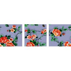 """Триптих по номерам на холсте """"Ветка роз"""""""