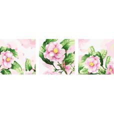 """Триптих по номерам на холсте """"Цветки роз"""""""