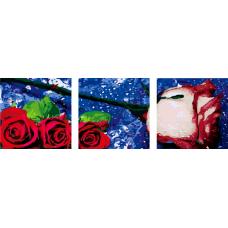 """Триптих по номерам на холсте """"Алая роза"""""""